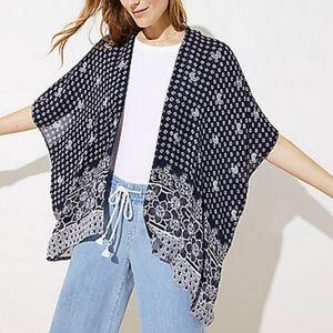 4591e07f7ce89 LOFT Paisley Kimono Wrap Top Black White One Size